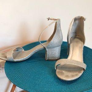 4165c5e99d4 Women s Silver Glitter Chunky Heels on Poshmark